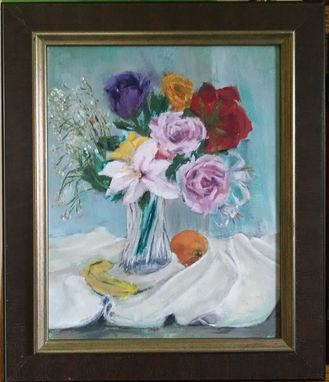 Custom Made Still Life With Roses And Lilies