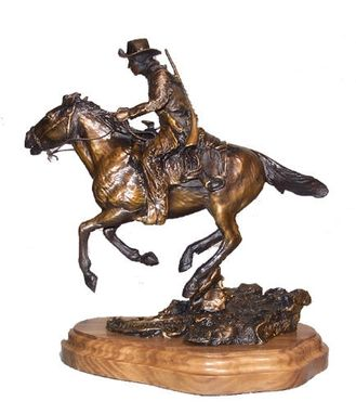 Custom Made Bronze Sculpture, Western Horse And Rider