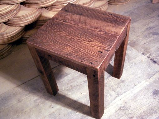 Custom Made Solid Oak Rustic Parsons Style End Table
