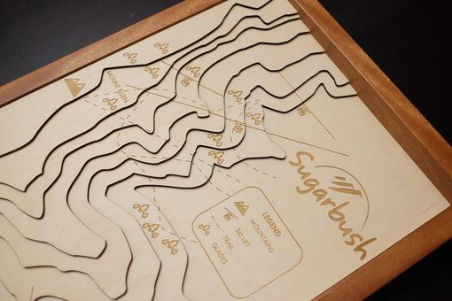 Custom Made Custom 3d Engraved Wood Contour Map
