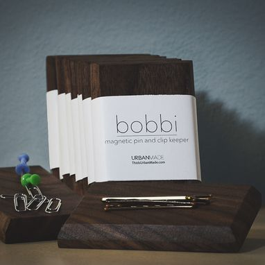 Custom Made Bobbi // Walnut Magnetic Bobby Pin And Clip Keeper