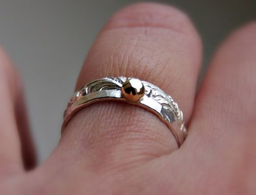 Custom Made Rustic, Stackable Alternative Wedding / Engagement Rings With Solid Gold Nugget