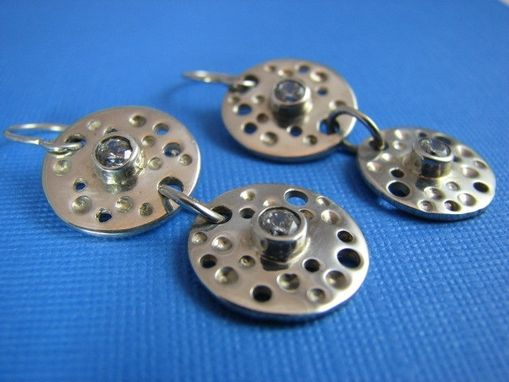 Custom Made Sterling Silver Twin Discs With Drilled Holes And Cubic Zirconia From The Luna Collection