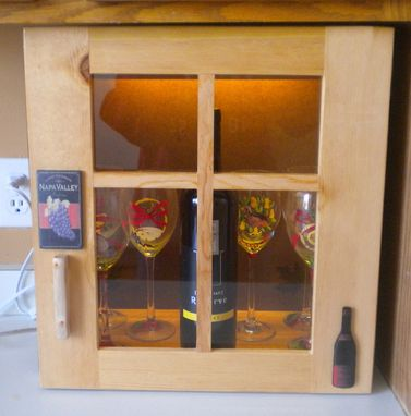 Custom Made Light Up Wine Cabinet Made Of Reclaimed Pine