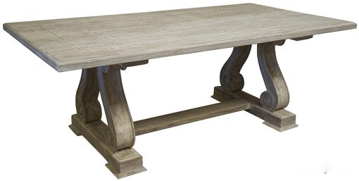 Custom Made Serpentine Leg Trestle Dining Table