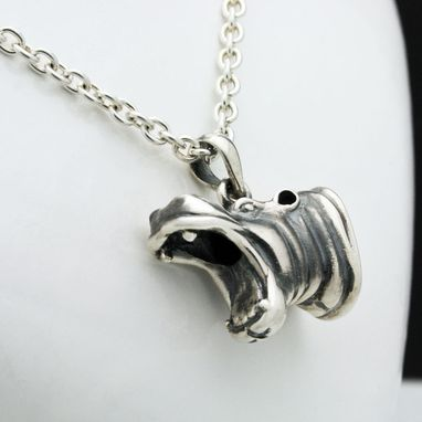 Custom Made Sterling Silver Hippo Pendant