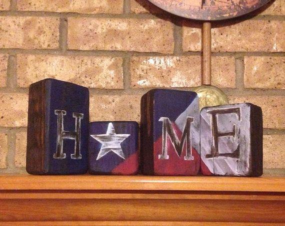 Custom Made Mantle Decor Texas Home Wood Blocks