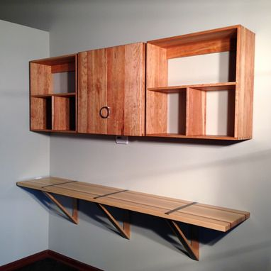 Custom Made Home Office Cherry Wall Cabinets
