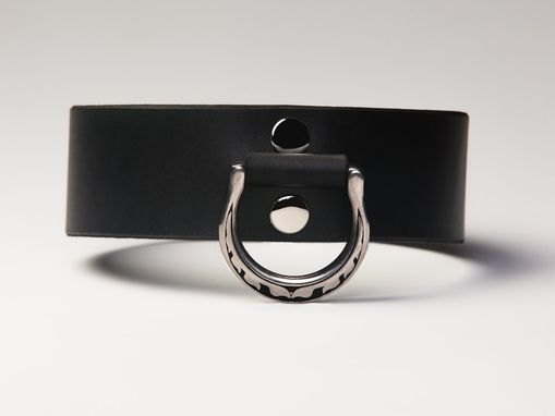 Custom Made Leather Bondage Collar - Latigo - Steel Lead Ring With Spotted Motif - Nickel Fasteners