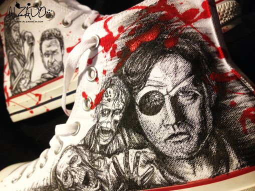 Custom Made Hand Drawn The Walking Dead Custom Shoes