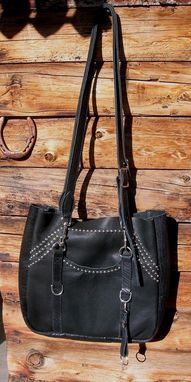 Custom Made Studded Black Leather Tote Bag
