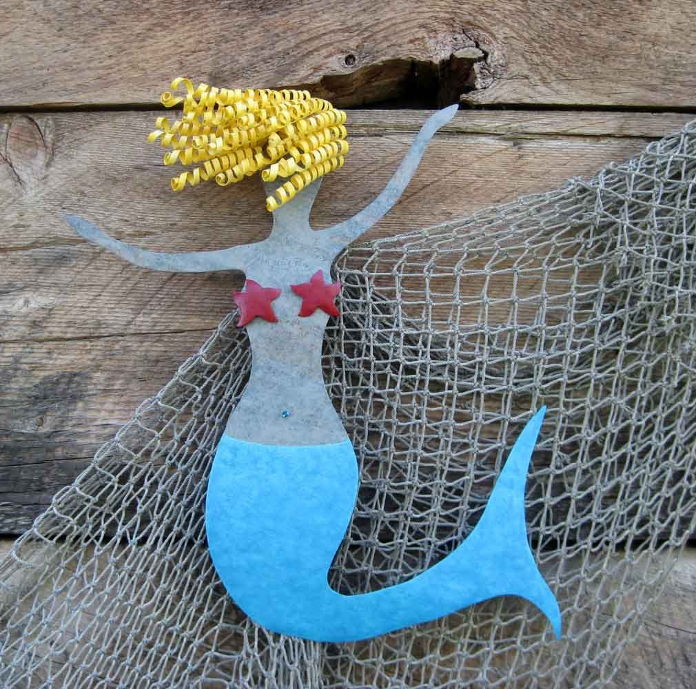 Hand Made Mermaid Metal Wall Art Sea Life - Clara - Beach House Wall ...