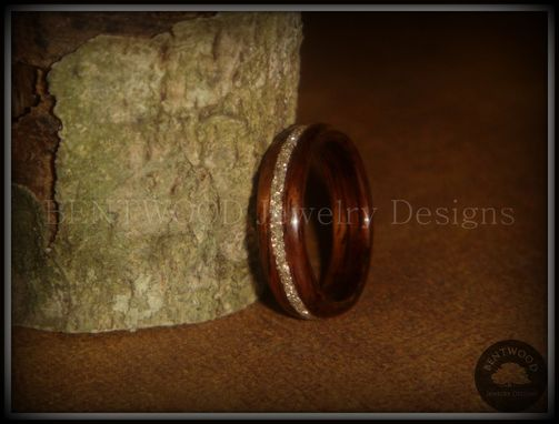 Custom Made Rosewood Wood Ring With Silver Glass Inlay