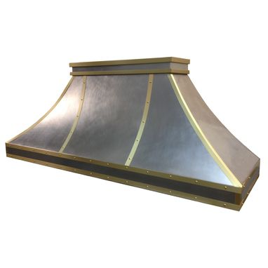 Custom Made Stainless And Brass Range Hood S8