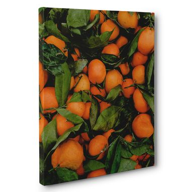 Custom Made Oranges In Leaves Photography Canvas Wall Art