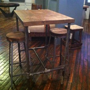 Hand made industrial cast iron pipe cafe bar table by js reclaimed pipe base pub table with reclaimed wood top by steve garceau watchthetrailerfo