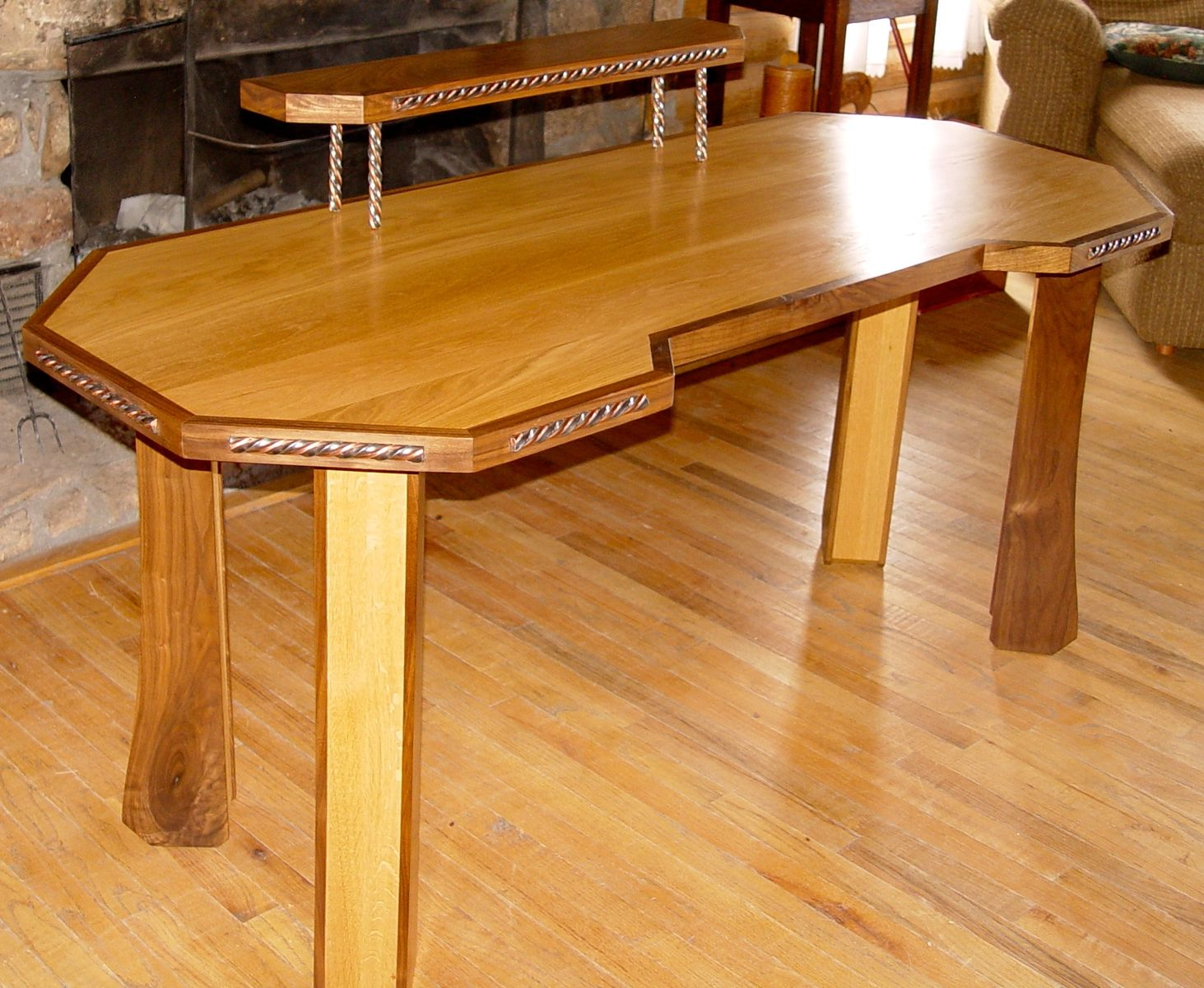 Hand Made For Sale..Oak And Walnut Desk With Twisted Steel And