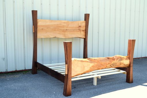 Custom Made Live Edge Maple King Size Bed With Walnut Posts