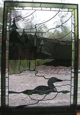 Custom Made Loon Cove Stained Glass Window