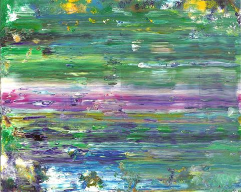 "Custom Made Abstract Acrylic Painting On White Mat ""Color In The Distance''"