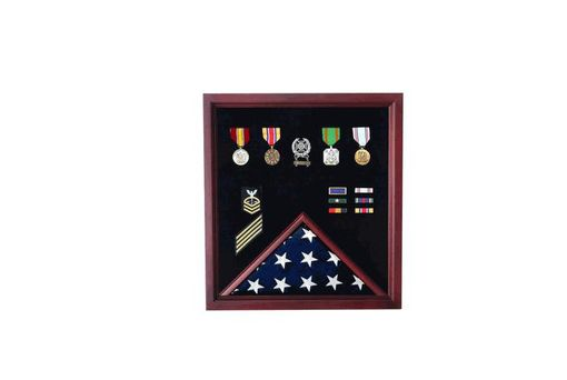 Custom Made U.S. Flag Plus Document Display Case