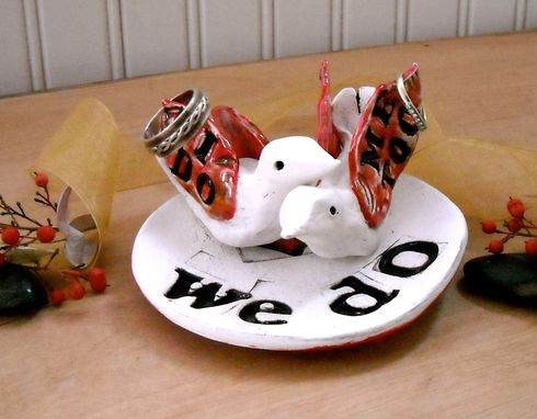 Custom Made Love Birds Wedding Cake Topper & Ring Dish