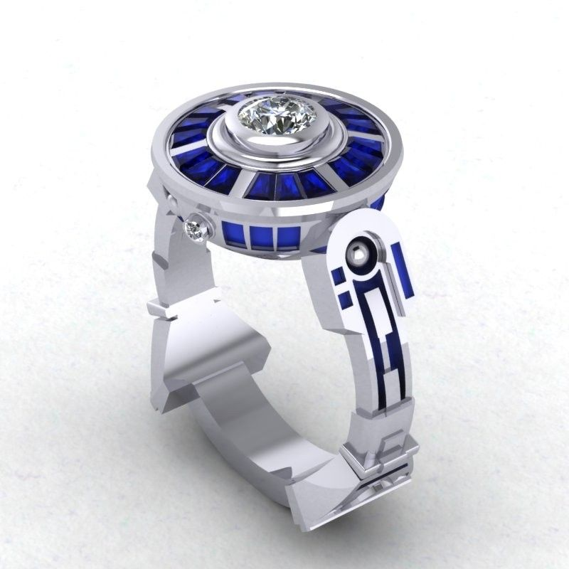 custom made droid lte engagement ring inspired by star wars - R2d2 Wedding Ring