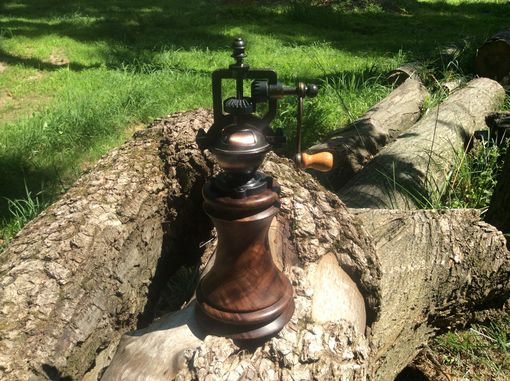 Custom Made Antique Style Peppermill With Figured Walnut