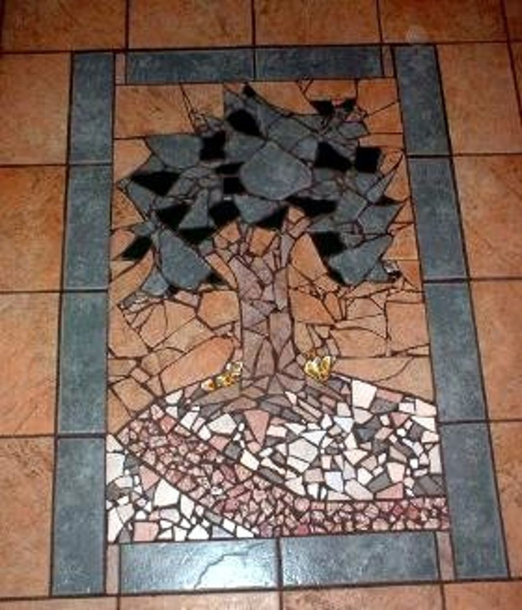 Custom Tile Work : Hand crafted broken ceramic mosaic tile work by earth