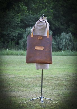 Custom Made Bison Leather Tote With Or Without Custom Name Or Initials On The Front