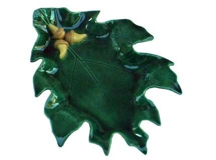 Custom Made Ceramic Oak Leaf Dish With Acorns - Green