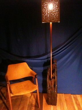 Custom Made Floor Lamp Of Reclaimed Timber Driftwood.