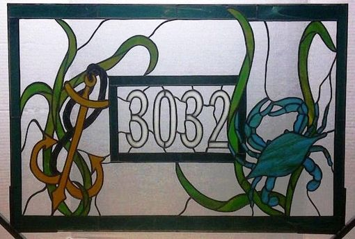 Custom Made Transom With House Number / Crab And Anchor (Am-2)