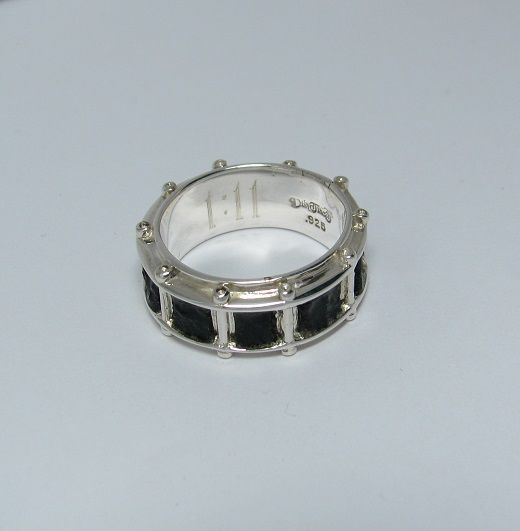 Hand Made Snare Drum Ring With Black Jet Stone Inlay By