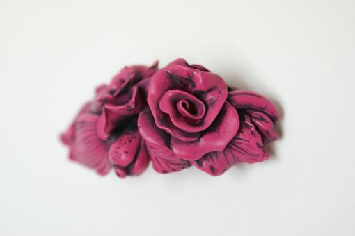 Custom Made Hair Barrette, French Style Exotic Pink Flower And Leaves
