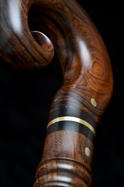 Custom Made Handmade Travel Walking Cane In Brass With Cocobolo, African Blackwood, And Lanceolaria Wood