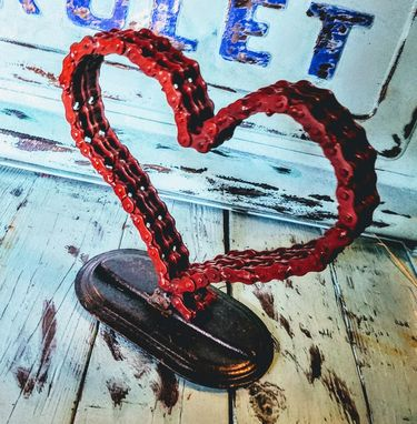 Custom Made Metal Bike Chain Art Heart