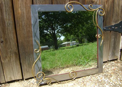 "Custom Made Wall Mirror With Hand-Forged Scrolls 24""X24"""