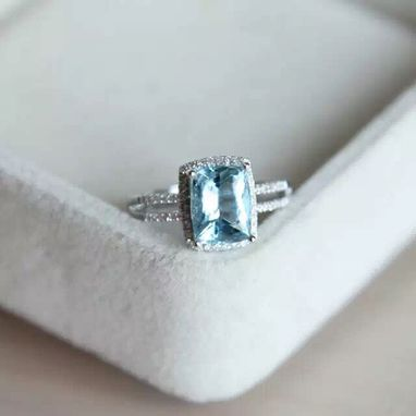 Custom Made 1.85 Carat Aquamarine Ring In White Gold