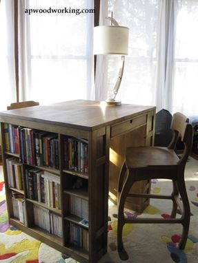 Custom Made Desk For Two With Shelves And Matching Stools