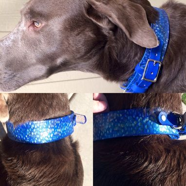 Custom Made Bright Metallic Hammered Leather Ranger Style Dog Collars