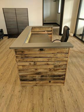 Custom Made Reclaimed Wood Slat And Steel Desk With Led Lighting