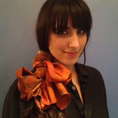 Custom Made Tangerine Hamsa Silk Scarf
