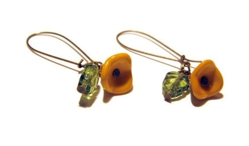 Custom Made Yellow Flower With Green Leaf Charm Earrings