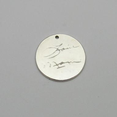 Custom Made Personalized Silver Signature Circle Pendant With Your Actual Handwriting Or Artwork