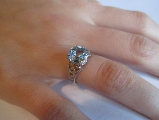 Custom Made Sapphire (Synthetic) Celtic Trinninty Knot Ring In Sterling Silver