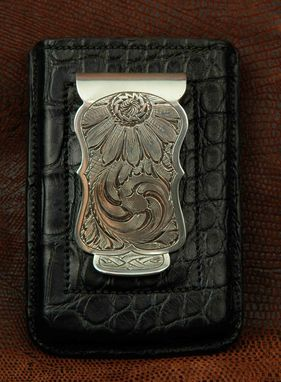 Custom Made Exotic Leather Card Wallet With Sterling Silver Money Clip