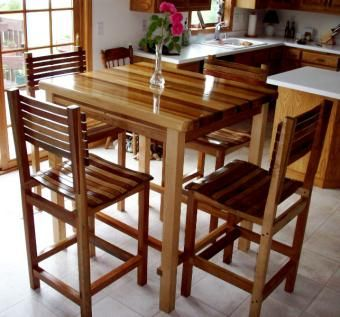 Custom Made Pub Table And 4 Chairs
