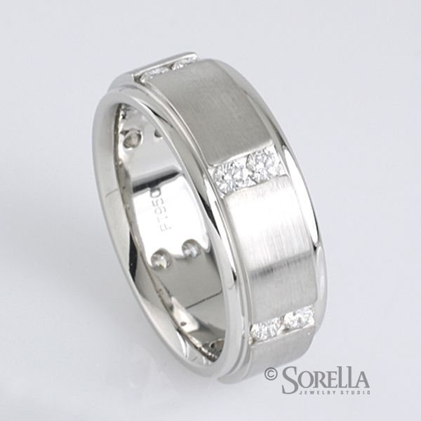 Custom Made Men S Platinum And Diamond Wedding Band