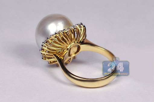 Custom Made Certified 18k Yellow Gold 1.63 Ct Diamond 15 Mm Pearl Womens Flower Ring